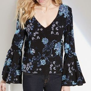 Fifteen Twenty Embroidered Bell Sleeve Blouse